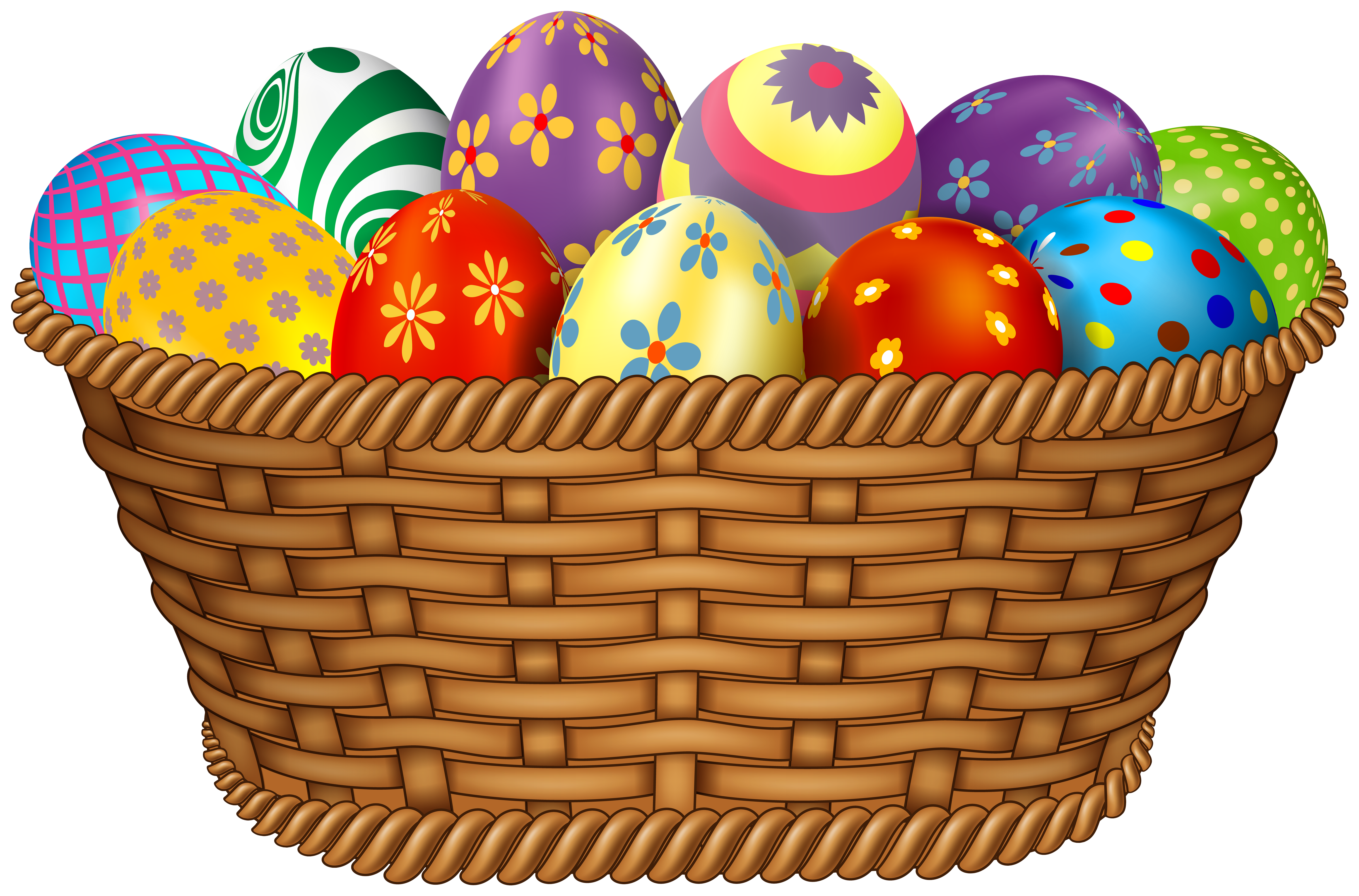 Easter Eggs in Basket Clipart Image.