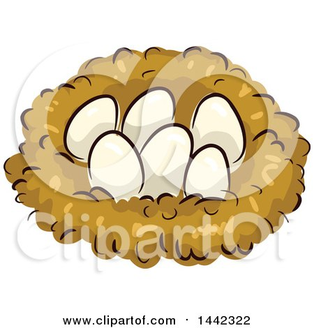 Clipart of a Nest with Chicken Eggs.