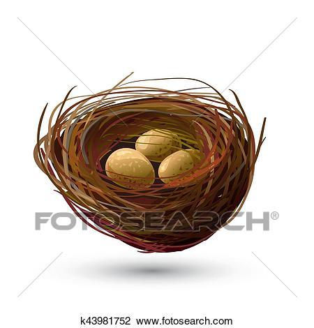 Bird Nest and golden Eggs Clipart.