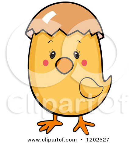 Cartoon of a Cute Baby Chick with an Eggshell on Its Head.