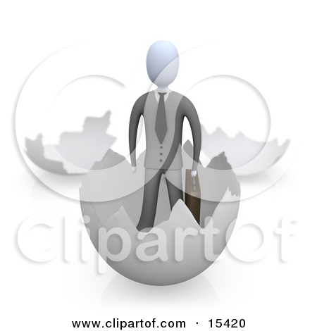 Businessman Carrying A Briefcase And Coming Out Of An Eggshell.