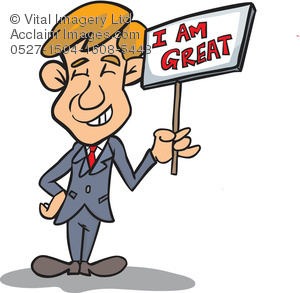 Clipart Illustration of a Man Holding an Egocentric Sign.