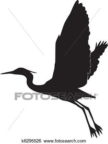 Silhouette of egret Clip Art.