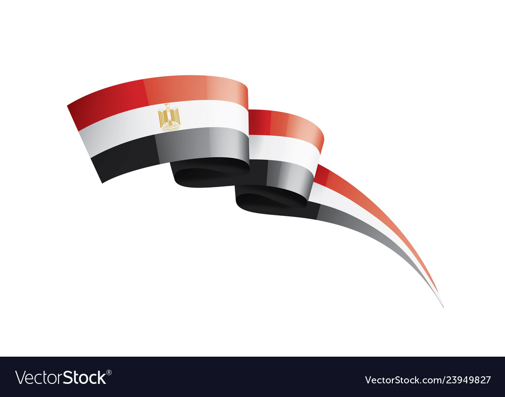 Egypt flag on a white.