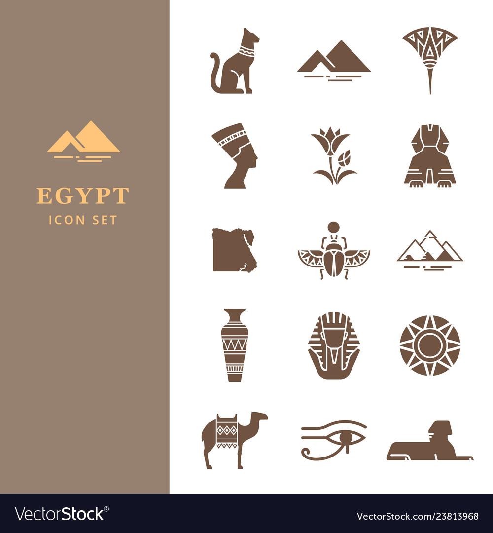 Egyptian icon set for a logo website design.