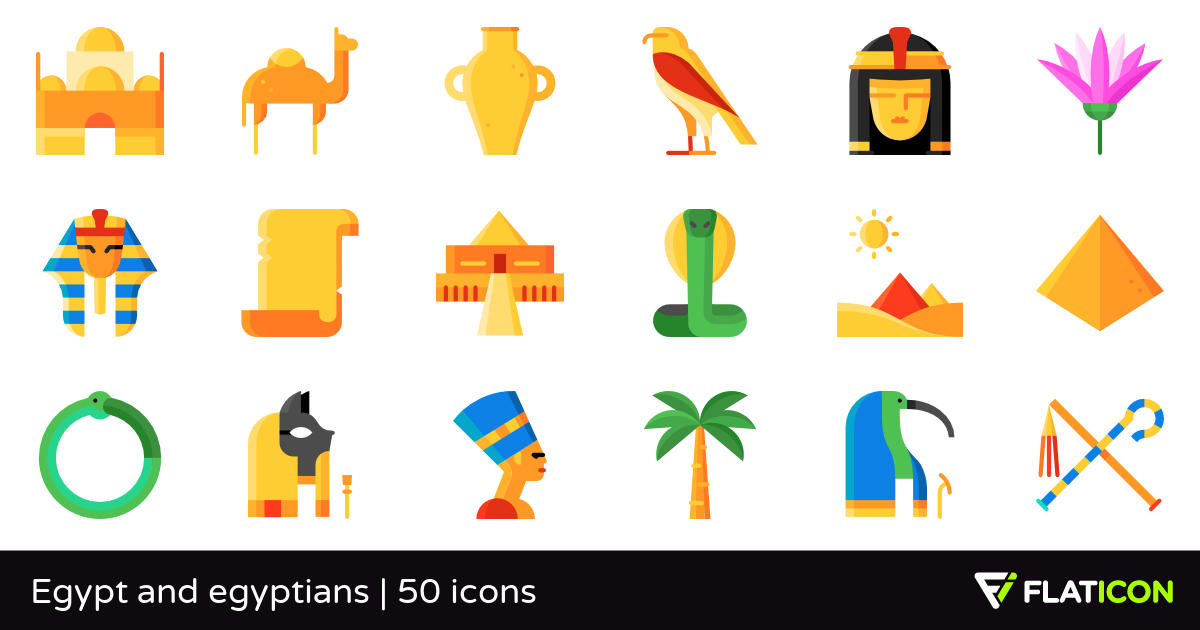 Egypt and egyptians 50 free icons (SVG, EPS, PSD, PNG files).
