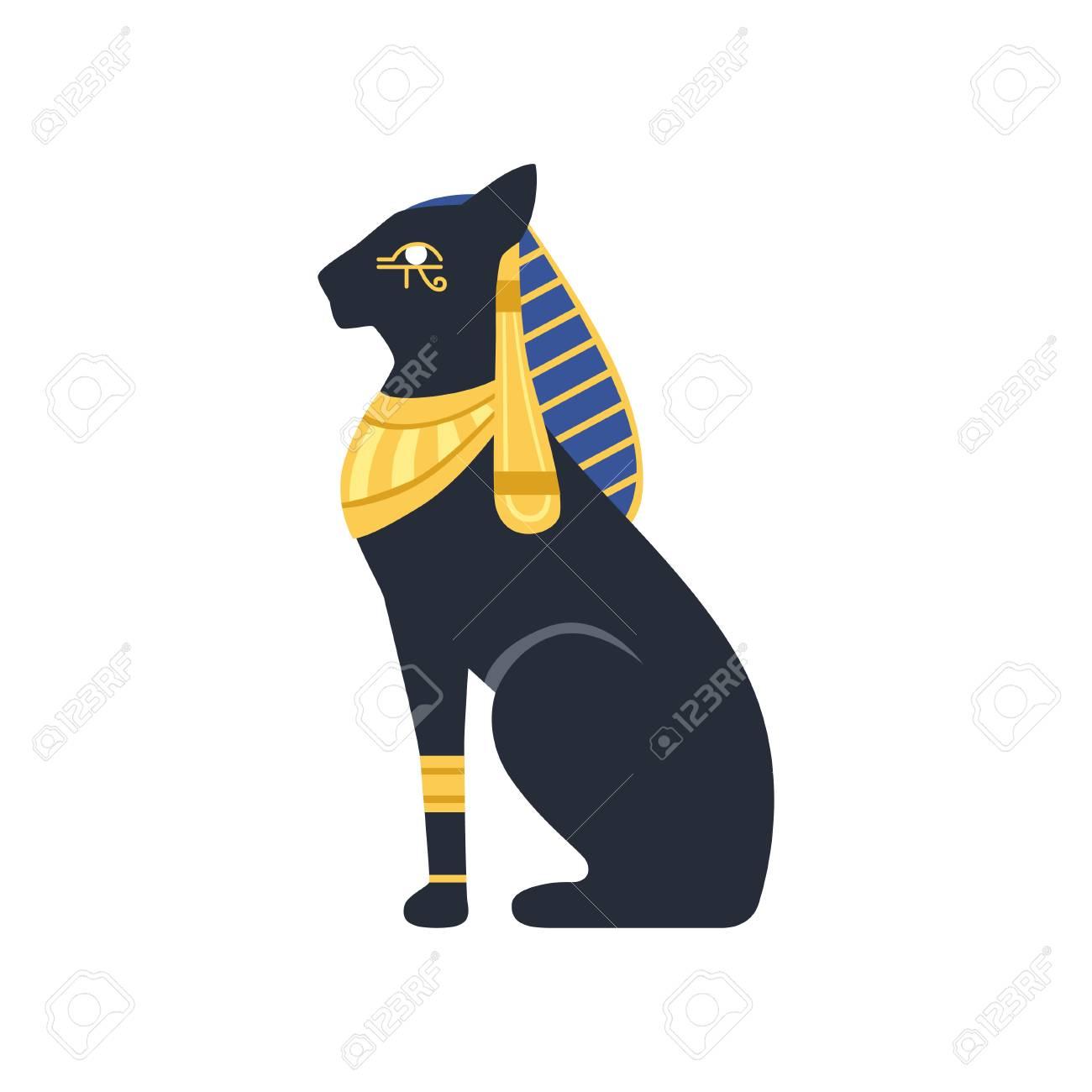Black Egyptian cat. Bastet, ancient Egypt goddess vector Illustration...