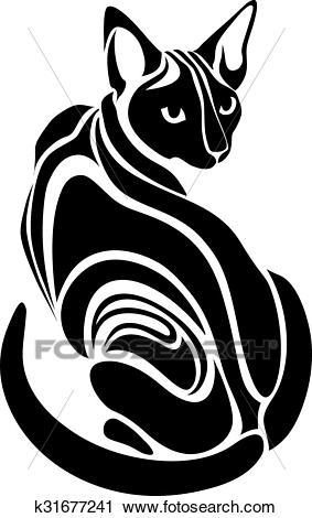 Egyptian Sphynx Black cat Clipart.