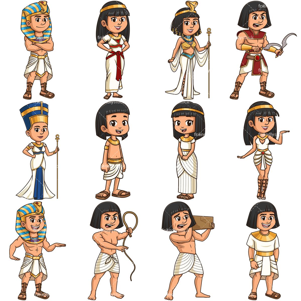 Ancient Egyptians Cartoon Vector Clipart.