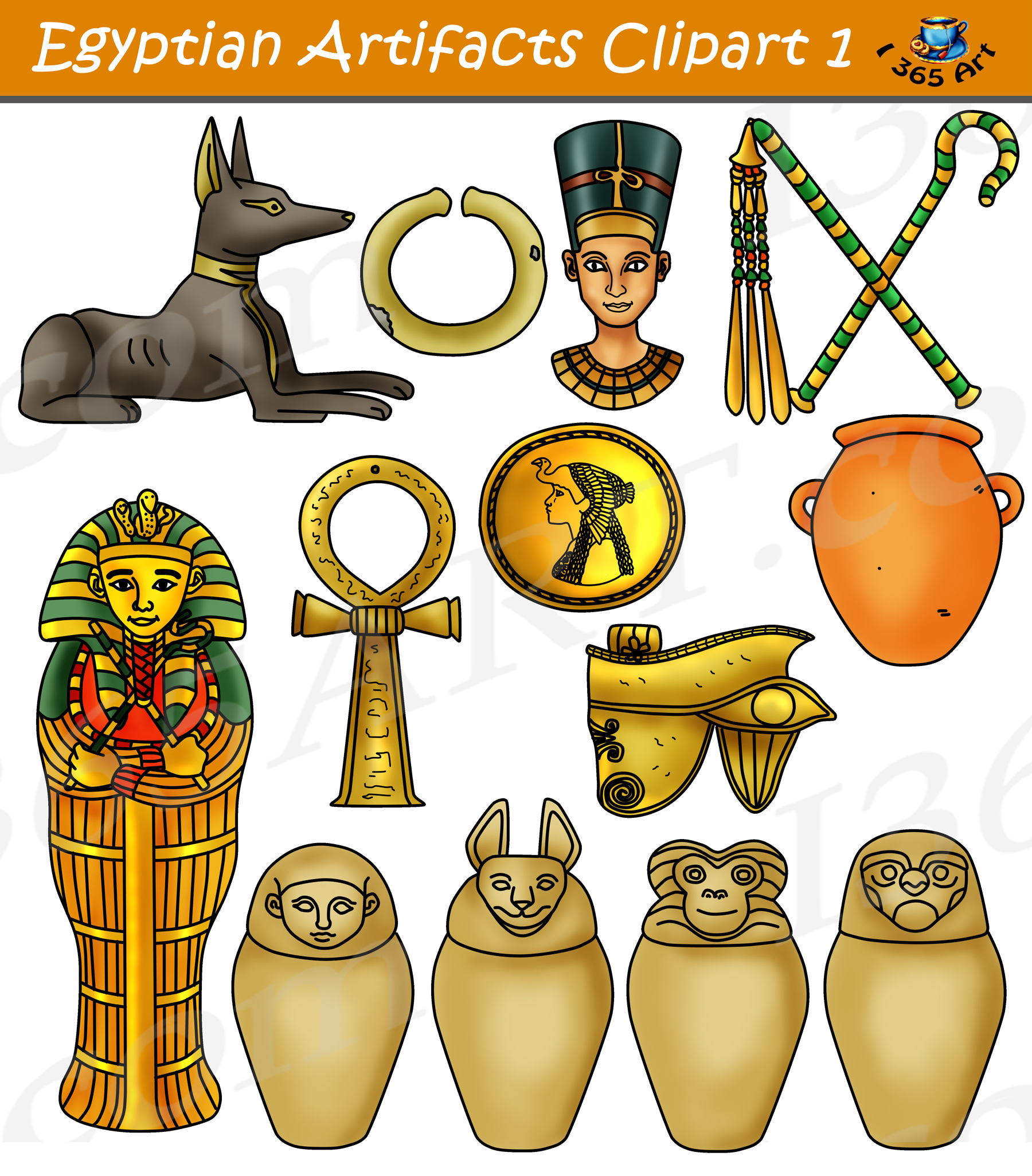 Egyptian Artifacts Clipart Part 1 Digital Download.