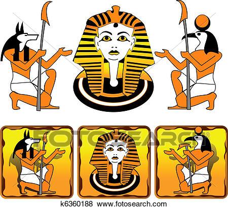Tiles Egyptian gods Clip Art.