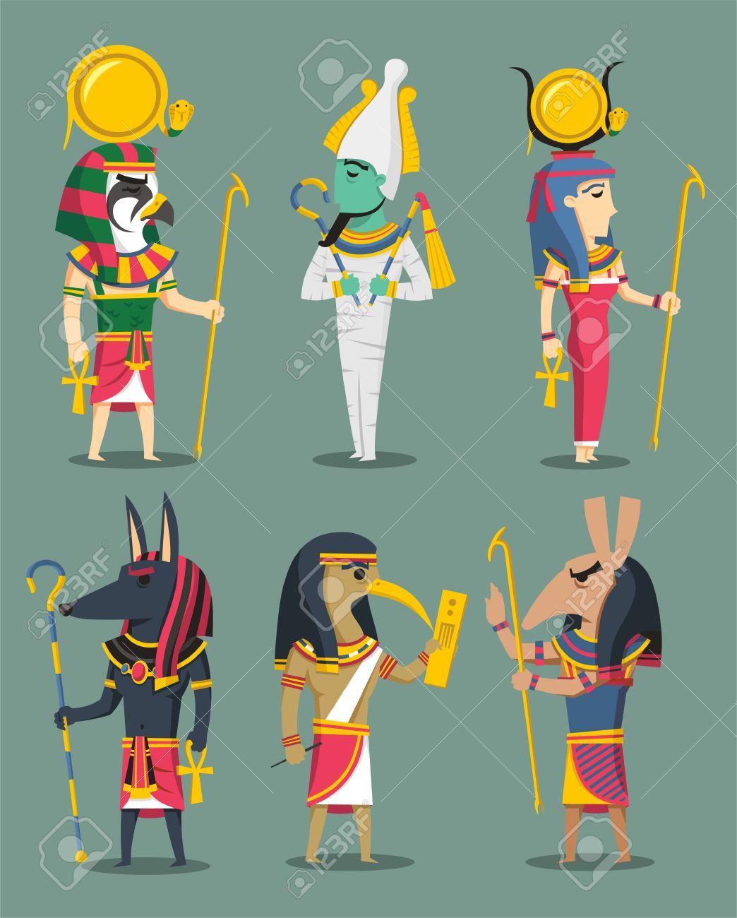 Egyptian Gods and Egypt Goddesses, with Osiris, Isis, Horus,...