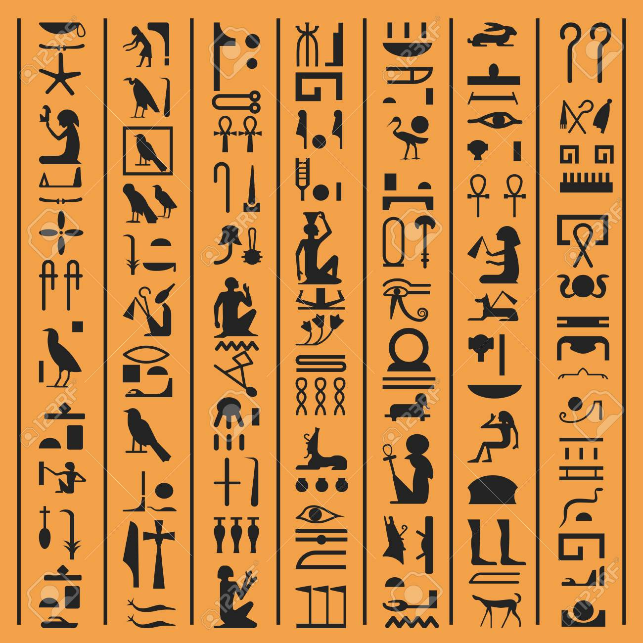 Egyptian hieroglyphs or ancient Egypt letters vector background.