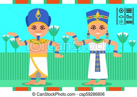 Egyptian man and woman in dancing action. Pharaoh and queen of Egypt in  traditional clothes. Lotus flowers on background. Flat vector.