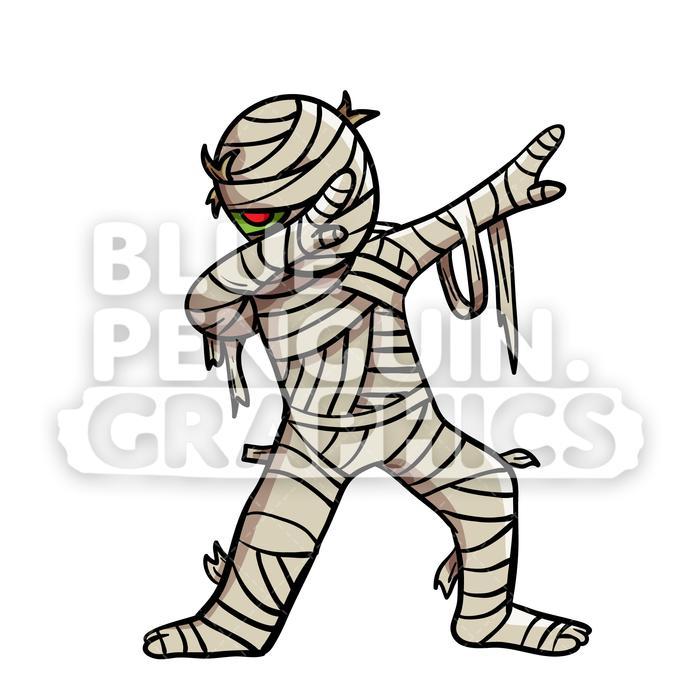 Dabbing Egyptian Mummy Vector Cartoon Clipart Illustration.