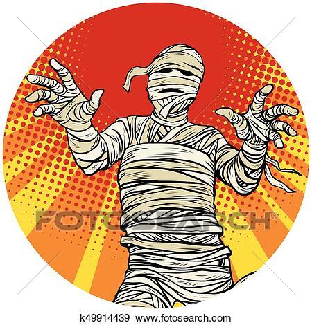 Egyptian mummy walking pop art avatar character icon Clip Art.