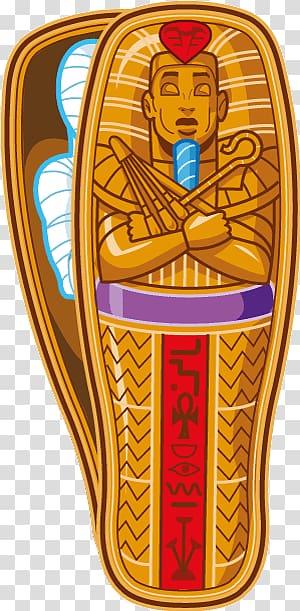 Egyptian casket illustration, Egyptian Mummy transparent background.