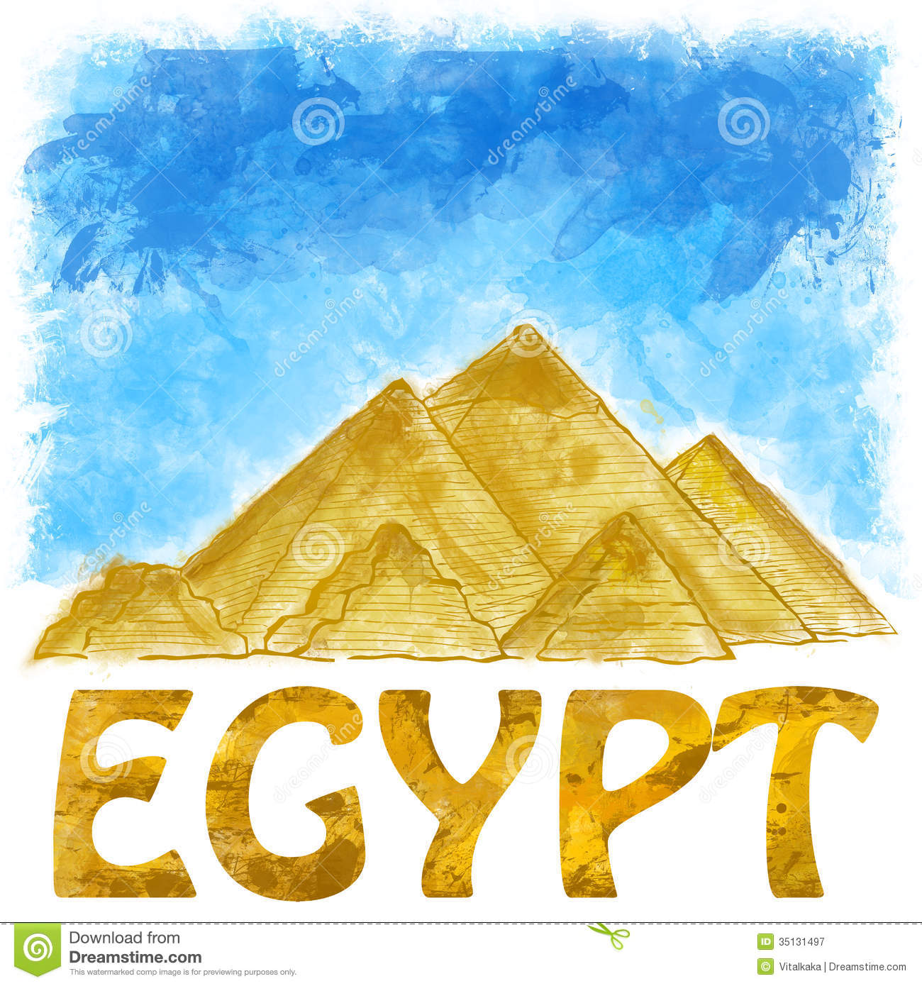 Egyptian pyramids stock illustration. Illustration of desert.