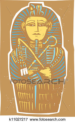 Egyptian Sarcophagus Color Clip Art.