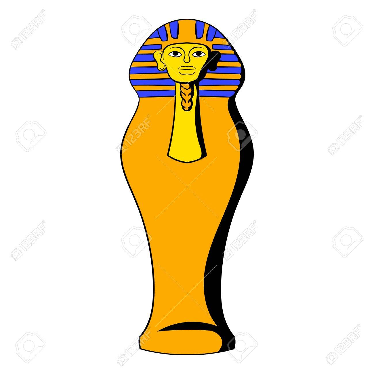 Egyptian pharaoh sarcophagus icon cartoon.