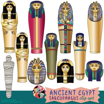 Ancient Egypt Sarcophagus Clip Art.