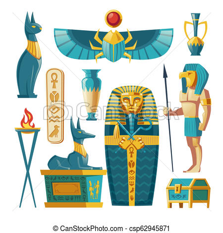 Vector cartoon Egyptian set.