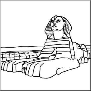 Clip Art: Great Sphinx B&W I abcteach.com.