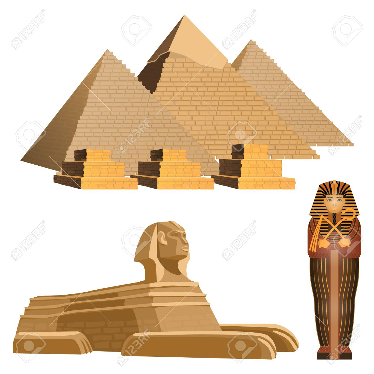 Egyptian pyramids, ancient sphinx and sarcophagus of pharaoh.