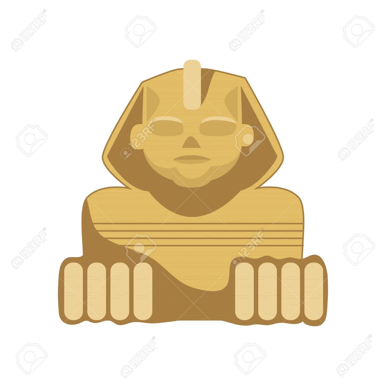 Egyptian Sphinx statue, symbol of ancient Egypt cartoon vector...