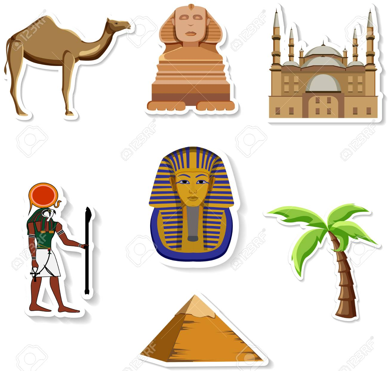 Egyptian stickers: Great Sphinx, Mosque of Mohammed Ali, Pharaoh,...