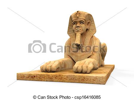Stock Illustration of Egyptian Sphinx Statue isolated on white.