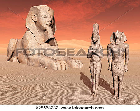 Clip Art of Egyptian sphinx and statues k28568232.