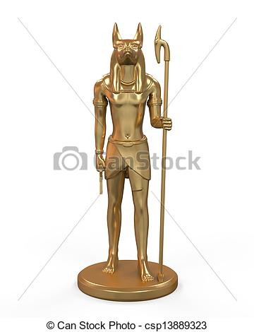 Clip Art of Egyptian Anubis Statue isolated on white background.
