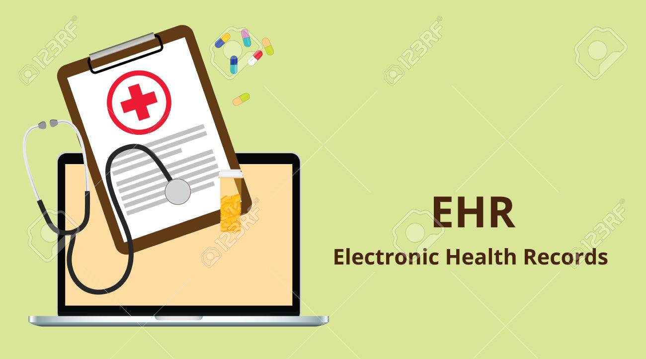 EHR electronic health record white text illustration with paperworks,...