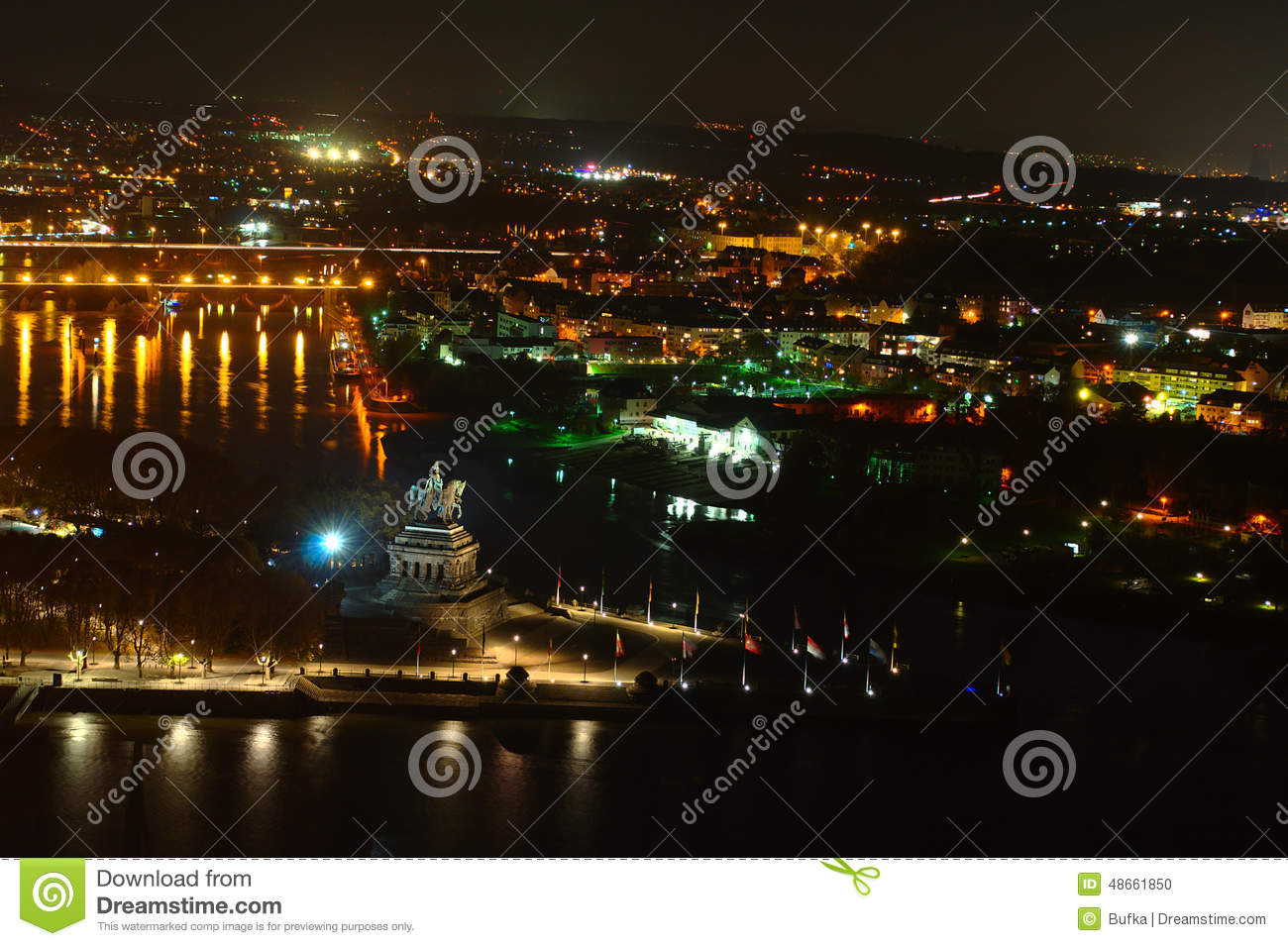 Koblenz By Night Stock Photo.