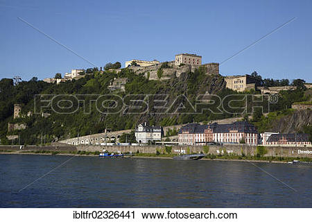 """Stock Photography of """"Festung Ehrenbreitstein Fortress above the."""