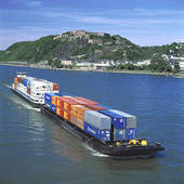 Picture of Container ship in river, Rhine River, Ehrenbreitstein.