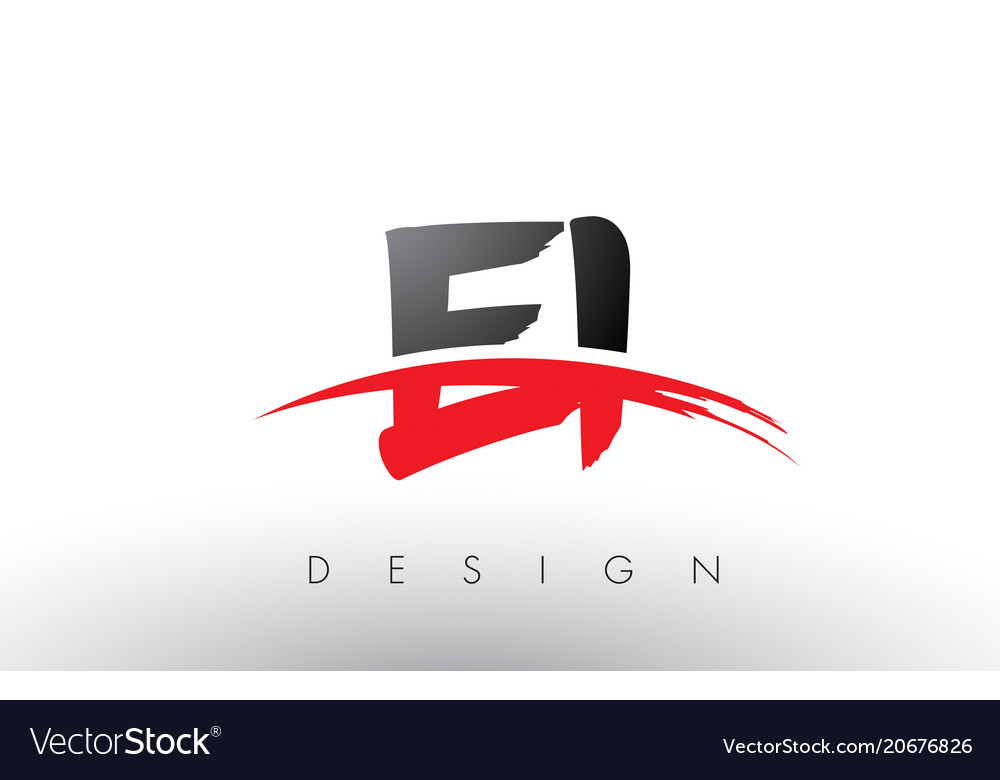 Ei e i brush logo letters with red and black.
