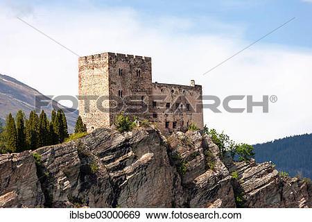 "Stock Photograph of ""Burg Laudegg Castle, castle ruins at Ladis."
