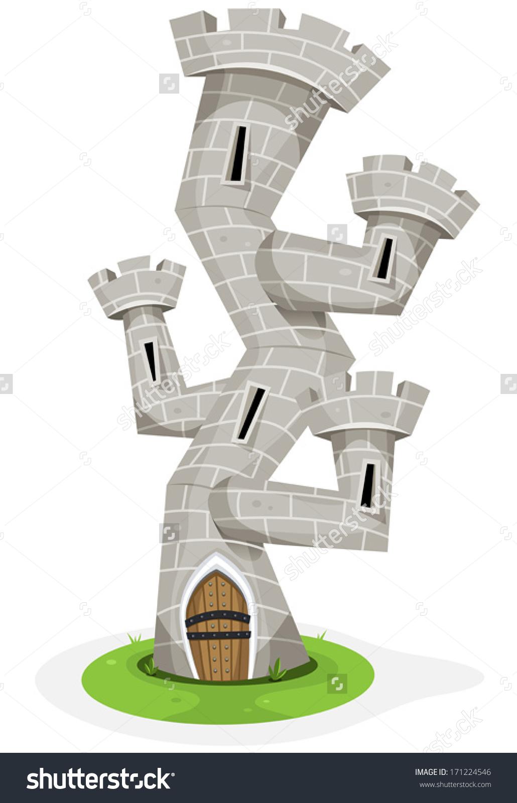 Fantasy Castle Tower Illustration Funny Cartoon Stock Vector.