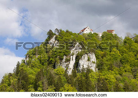 """Stock Photo of """"Rocks in the Danube Valley and Burg Wildenstein."""