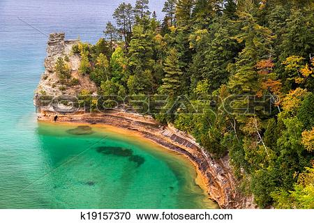 Stock Photography of Miner's Castle at Pictured Rocks k19157370.