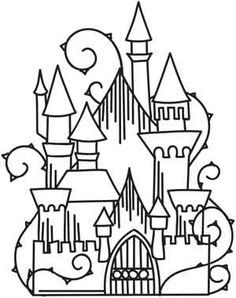 Medieval Castle black and white royalty free vector interface icon.