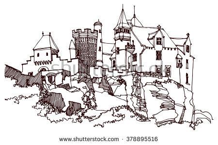 Cartoon Hand Drawing Castle Stock Vector 125626253.