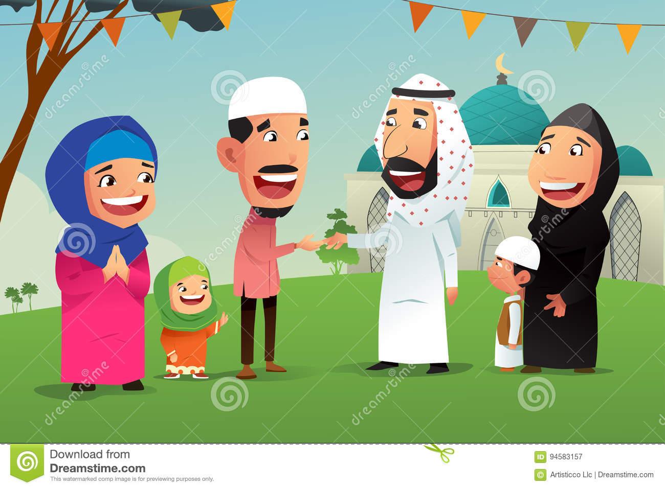 Muslims Celebrating Eid Al Fitr Stock Vector.