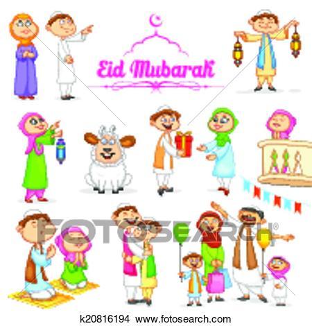 Muslim people celebrating Eid Clipart.