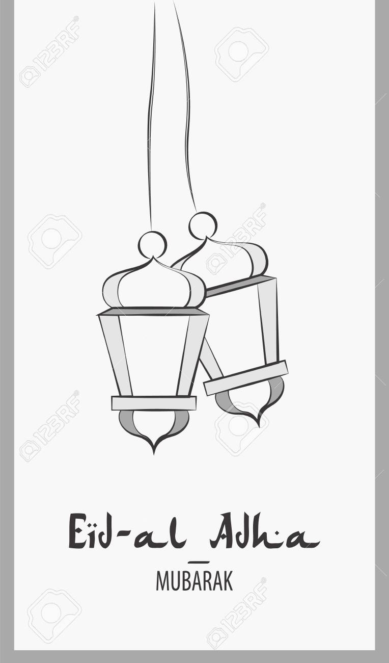 Lanterns for holiday. Black and white vector illustration. Eid...