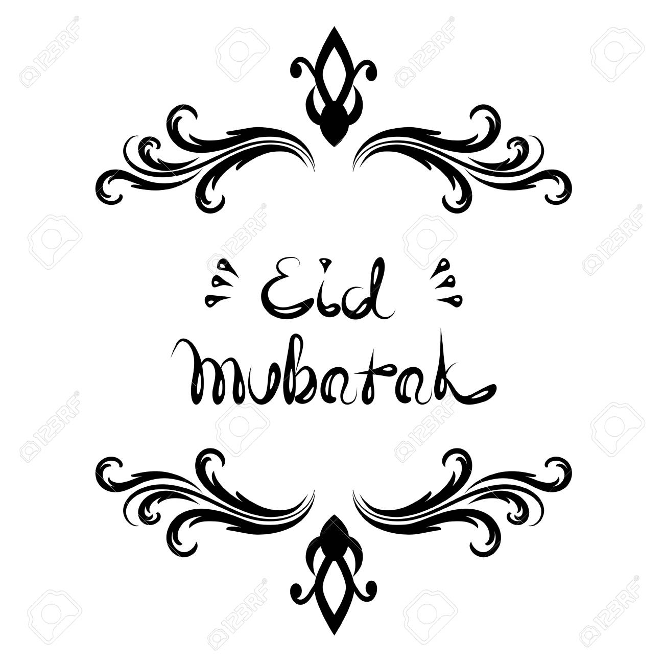 Eid Mubarak handwritten lettering isolated on white background...