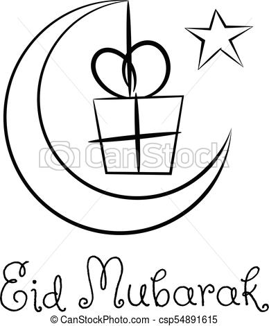 Eid mubarak crescent moon gift sketchy isolated.