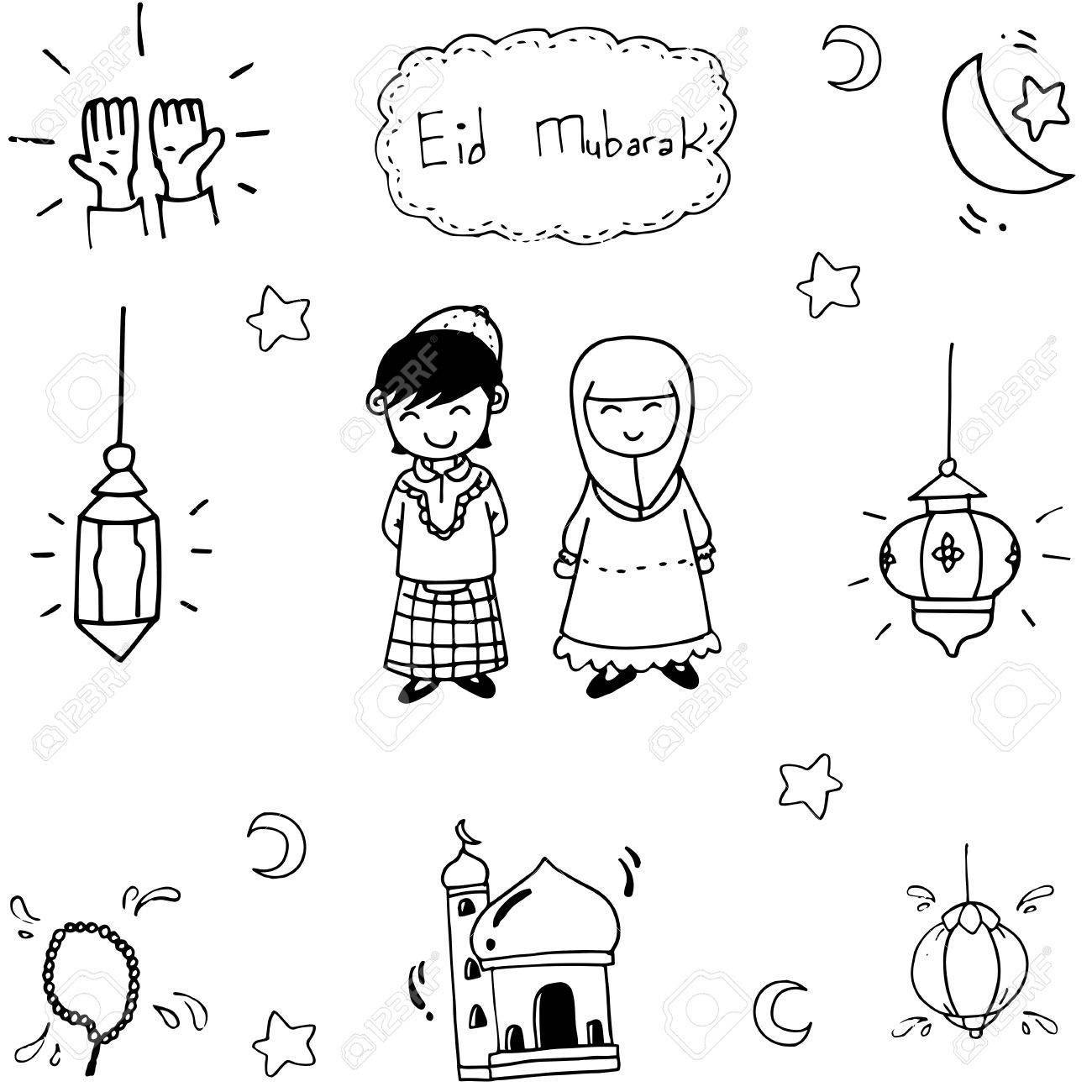 Doodle vector art muslim eid mubarak on white backgrounds.